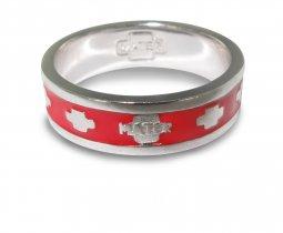 Copertina di 'Fedina rosario in argento smaltata rossa con crocette mm 21'