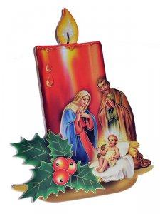 """Copertina di 'Iconcina a forma di candela """"Natività"""" stile classico - altezza 13 cm'"""