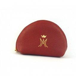 Copertina di 'Portarosario a mezzaluna con zip e simbolo mariano - colore rosso'