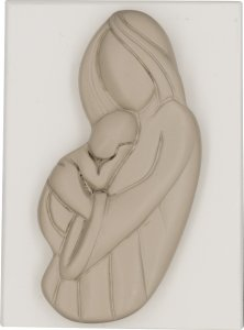 """Copertina di 'Quadretto in resina bicolor con rilievo """"Madonna col Bambino"""" - dimensioni 5,5x8 cm'"""