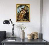 """Immagine di 'Quadro """"Gesù con i bambini"""" con lamina oro e cornice dorata - dimensioni 44x34 cm'"""