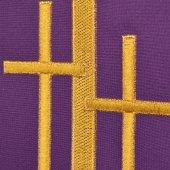 Immagine di 'Stola viola con croci latine dorate ricamate'
