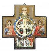 Croce icona San Benedetto stampa su legno - 15 x 15 cm