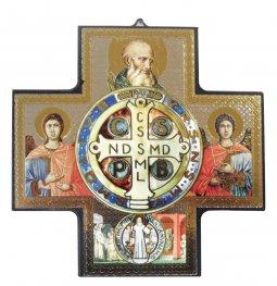 Copertina di 'Croce icona San Benedetto stampa su legno - 15 x 15 cm'