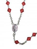 Immagine di 'Rosario con grani in cristallo rondello da Ø 5 mm color rubino e legatura in argento 925'