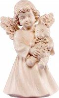 Statuina dell'angioletto con orsacchiotto, linea da 10 cm, in legno naturale, collezione Angeli Sissi - Demetz Deur