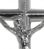Immagine di 'Croce tondino con Cristo riportato in metallo nichelato - 3,5 cm'