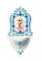 """Acquasantiera in polimero ad effetto ceramica """"Madonna col Bambino"""" - altezza 16 cm"""
