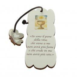 Copertina di 'Segnalibro sagomato con ciondolo in legno grigio a farfalla - dimensioni 15x5cm'