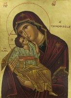 Immagine di 'Icona Madonna della Tenerezza, produzione greca su legno - 31,5 x 24 cm'