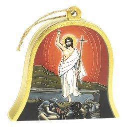 "Copertina di 'Icona in legno a campana ""Risurrezione di Gesù"" - dimensioni 10x11 cm'"