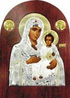Icona Madonna di Gerusalemme Greca a forma di arco in argento con dettagli in oro e cristalli - 14 x 10 cm