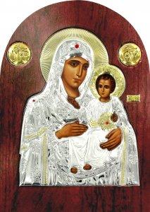 Copertina di 'Icona Madonna di Gerusalemme Greca a forma di arco in argento con dettagli in oro e cristalli - 14 x 10 cm'