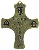 Immagine di 'Croce Agnus Dei in metallo bronzato - 9 cm'