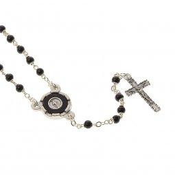 Copertina di 'Collana rosario in legno nero con Medaglia Miracolosa - grani tondi 3 mm'
