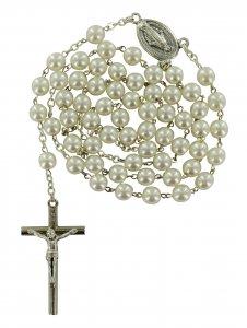 Copertina di 'Rosario imitazione perla vetro Ø 6 mm bianco'