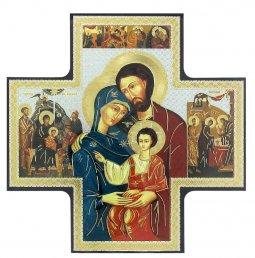 Copertina di 'Croce icona Sacra Famiglia in legno - 15 x 15 cm'