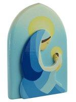 Quadretto madonna con bambino blu di profilo