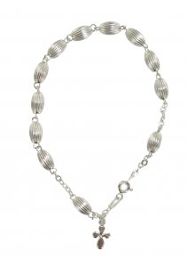 Copertina di 'Bracciale Rosario in argento 925 con grani ovali'