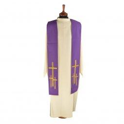 Copertina di 'Stola viola con croci latine dorate ricamate'