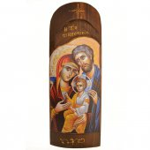 Icona in legno con Sacra Famiglia in rilievo (h. 40 cm)
