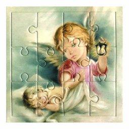 """Copertina di 'Mini puzzle """"Angelo con lanterna"""" per bambini - 12 pezzi'"""