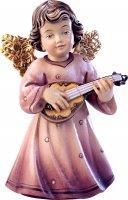 Statuina dell'angioletto con mandolino, linea da 10 cm, in legno dipinto a mano, collezione Angeli Sissi - Demetz Deur