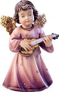 Copertina di 'Statuina dell'angioletto con mandolino, linea da 10 cm, in legno dipinto a mano, collezione Angeli Sissi - Demetz Deur'