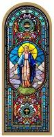 Tavola Madonna Miracolosa stampa tipo vetrata su legno - 10 x 27 cm