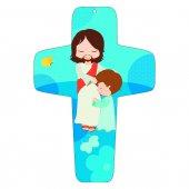 """Croce azzurra """"Gesù e il bambino"""" - altezza 13 cm"""