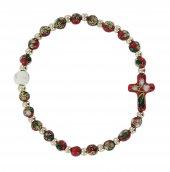 Braccialetto con elastico cloisonnè con 21 grani e croce di colore rosso
