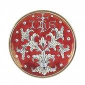 """Patena in ceramica simbolo IHS """"Modello Rubino e oro"""" - 15 cm"""
