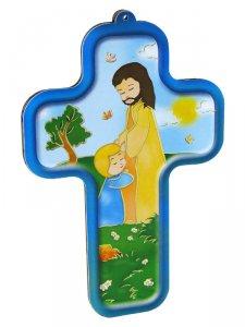 """Copertina di 'Croce in legno """"Gesù e il bambino"""" -  dimensioni 13x9 cm'"""