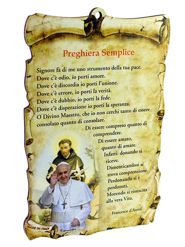 Molto Tavoletta sagomata Preghiera semplice con immagine di Papa  AG17