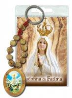"""Portachiavi in legno d'ulivo con decina, medaglia e preghiera """"Madonna di Fatima"""""""