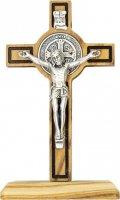 Croce di San Benedetto da tavolo in legno d'ulivo con rigatura scura incisa - altezza 8 cm