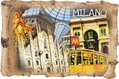 Calamita Duomo di Milano a forma di pergamena - 8 x 5,5 cm