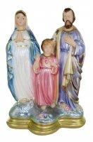 Statua Sacra Famiglia in gesso madreperlato dipinta a mano - 30 cm