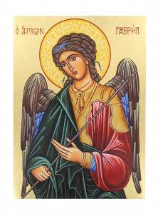 Copertina di 'Icona Arcangelo Gabriele dipinta a mano su legno con fondo orocm 19x26'