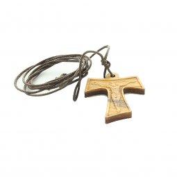 Copertina di 'Tau in legno con corpo di Cristo in rilievo e laccio - altezza 4 cm'