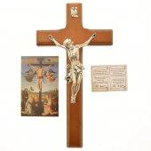 Immagine di 'Croce in legno e metallo argentato color ciliegio - altezza 27 cm'