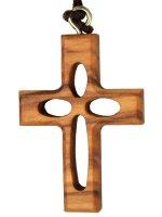 Croce in legno d'ulivo traforata con laccio - altezza 3,8 cm