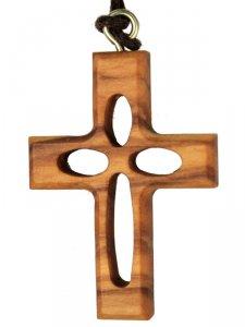 Copertina di 'Croce in legno d'ulivo traforata con laccio - altezza 3,8 cm'