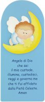 Pala Angelo su luna in legno colorato azzurro cm 28x13