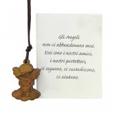 Ciondolo in ulivo raffigurante l'Angelo Custode (con cordone)