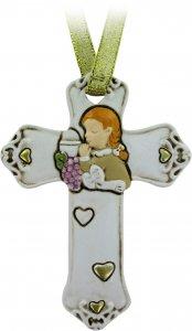 Copertina di 'Bomboniera comunione croce per bambina in resina cm 8,5 bianca'
