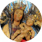 Immagine di 'Medaglia ovale con profilo in argento e interno in porcellana con misura 2,6x2 cm - Madonna di Almudena'