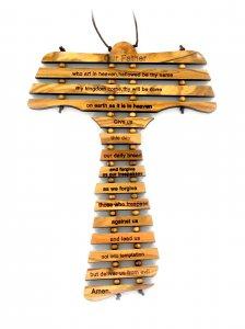 Copertina di 'Croce Tau da Parete con Preghiera Padre Nostro in Inglese, Legno d'Ulivo, 12,7 x 19 x 0,5 cm'