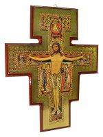 Croce di San Damiano in legno laccato (30x40)