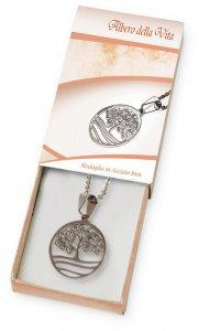 Copertina di 'Confezione con catenina argentata e medaglietta con Albero della vita in acciaio inox'